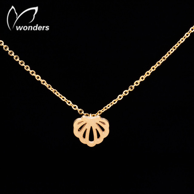 Sea Shell Charm Necklace Stainless Steel Fashion Jewellery 18 Karat Gold Plated Nacklace For Women