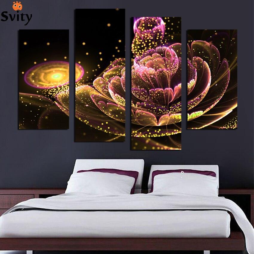 4 PCS Toile Peinture Glod Fleur e Peintures Pour Salon Une Telle Beauté Image Sur Le Mur Toile Imprimée Sans Cadre F1880