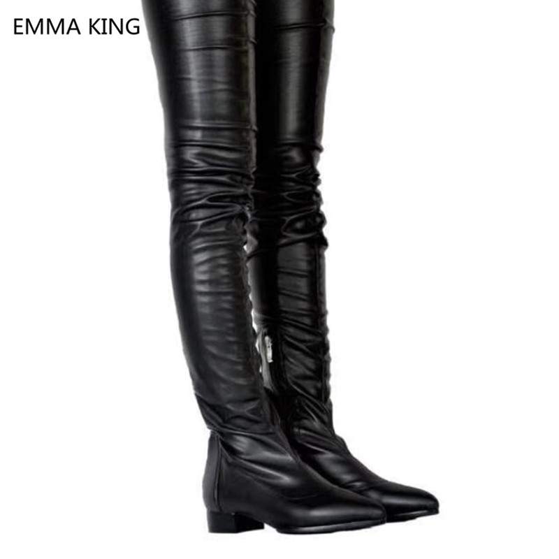 En Plissée Moto Pointu Bottes Femme Hiver Bout As Nouveau Picture In Genou Bas Femmes Plates Cuir Talons Du Dessus Cuissardes Noir Chaussures Shown F4q5g6p