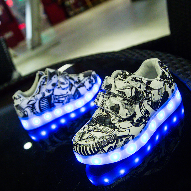 LED Shoes Kids Fashion Leisure Boys Girls Shoes Light Running Shoes USB Charging Light Up Shoes Kids Sneakers SIZE:27-37 joyyou brand usb children boys girls glowing luminous sneakers teenage baby kids shoes with light up led wing school footwear