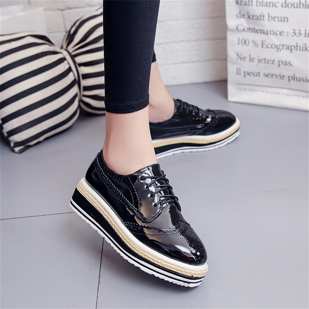 Women Outdoor Leather Casual Sports Shoes Lace-Up Thick-Soled Increase Shoes italian shoe and bag set for party in women blue #8 18
