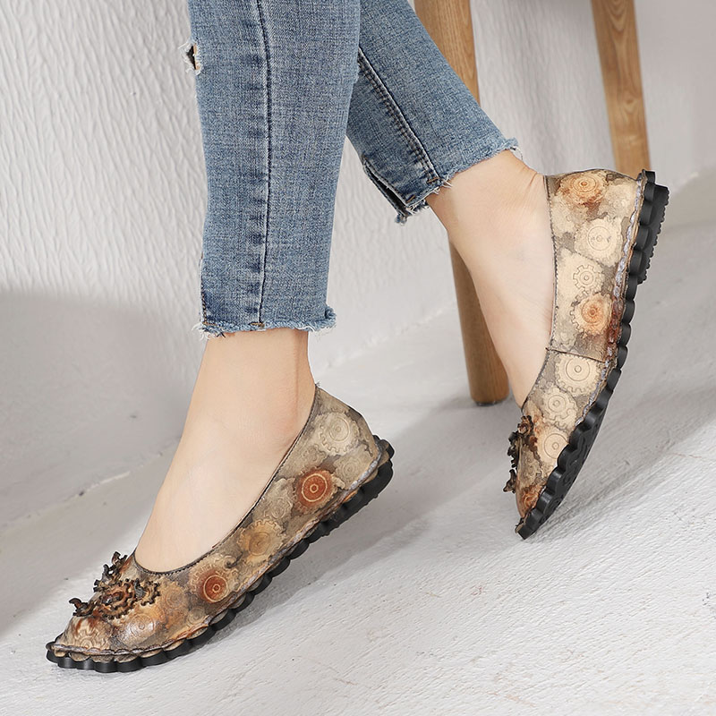 2019 VALLU Woman Flats Shoes Flower Mixed Color Round Toes Vintage Handmade Natural Leather Lady Loafers