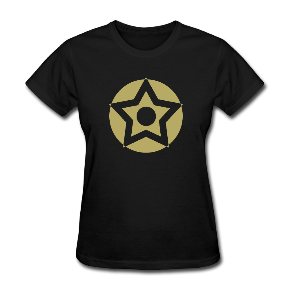 Women Army Star WWII Distressed Political short sleeve T Shirt cotton Black
