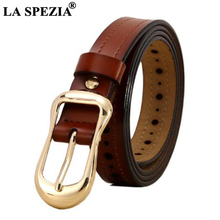 LA SPEZIA Women Waist Belt Brown Pin Buckle Leather Belts Female Vintage Genuine Cowhide Brand Ladies Jeans110cm