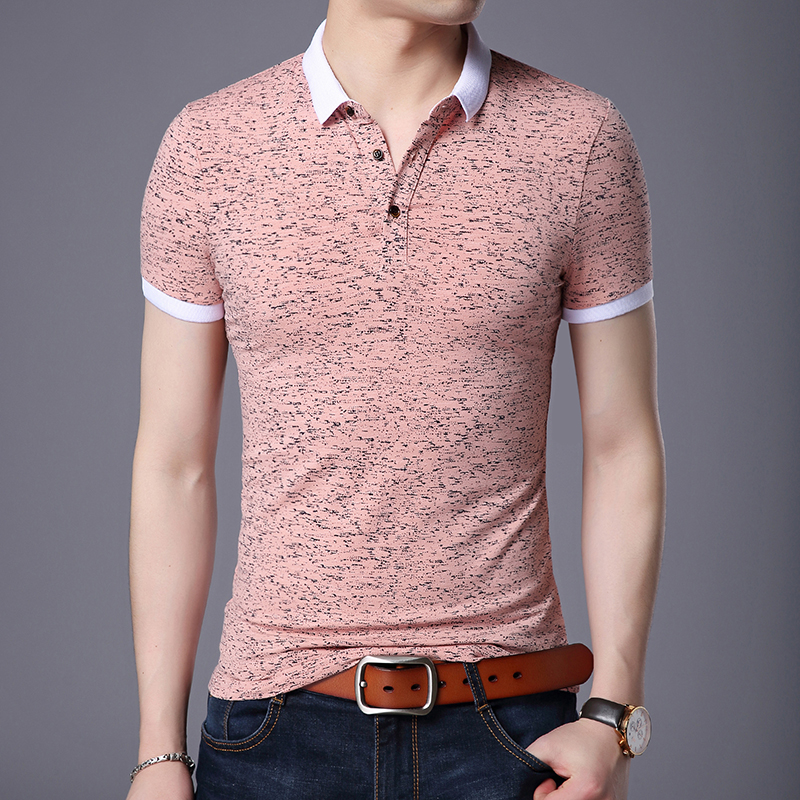2019 New Fashion Brand Designer Summer   Polo   Shirt Men Top Grade Slim Fit Short Sleeve Boys Print Poloshirt Casual Men's Clothing