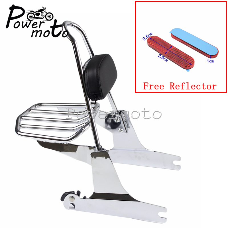 Chrome Motorcycle Sissy Bar Backrest Luggage Rack Backrest Pad Side Plate W / Red Reflector For Harley Softail Fat Boy 2000-2005Chrome Motorcycle Sissy Bar Backrest Luggage Rack Backrest Pad Side Plate W / Red Reflector For Harley Softail Fat Boy 2000-2005