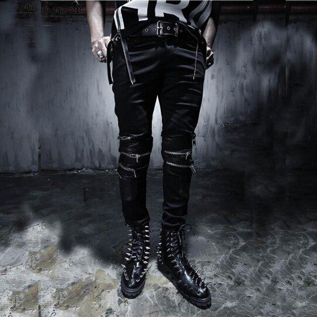 7 SIZE Plus Size Funky Japan Punk Men's Casual Slim Fit Skinny PU Faux Leather Zipper HIP HOP Joggers Costume Clubwear Trousers 3