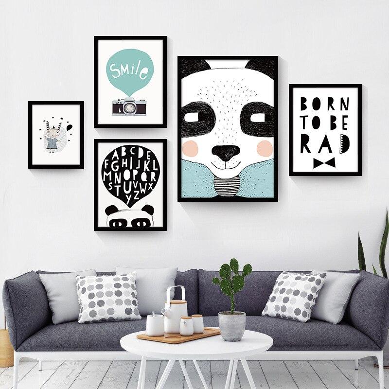 Black White Nordic Minimalist Animal Love Quotes Canvas