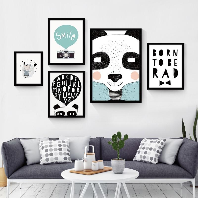 US $3.43 14% OFF|Schwarz Weiß Nordic Minimalistische tier Love Quotes  Leinwand Kunstdruck Poster Wand Bild Malerei Hause Kinderzimmer Kein Rahmen  ...