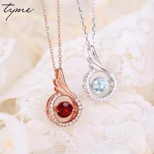 Tyme Vintage Red/blue Crystal Choker Necklace Women Pendant Creative Wings Silver Necklace Femme Clavicle Clothing Accessories