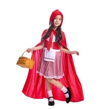 Kızlar parlak kırmızı kiraz küçük kırmızı başlıklı kız tatlı hikaye kitabı karakter cadılar bayramı kostüm için küçük çocuk orman macera