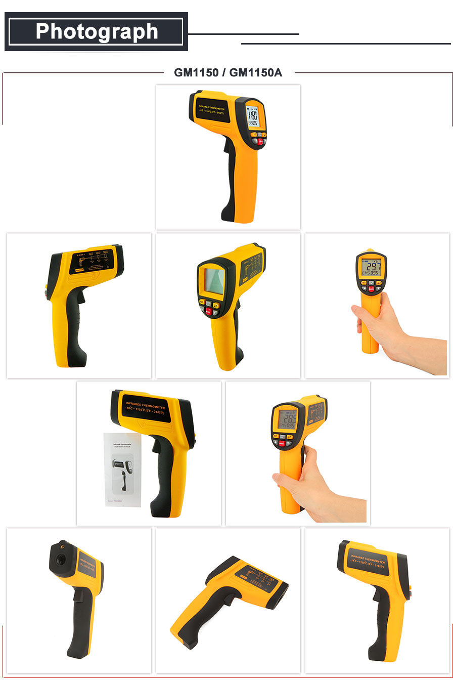 HTB1tOwrbeP2gK0jSZFoq6yuIVXap RZ IR Infrared Thermometer Thermal Imager Handheld Digital Electronic Outdoor Non-Contact Laser Pyrometer Point Gun Thermometer