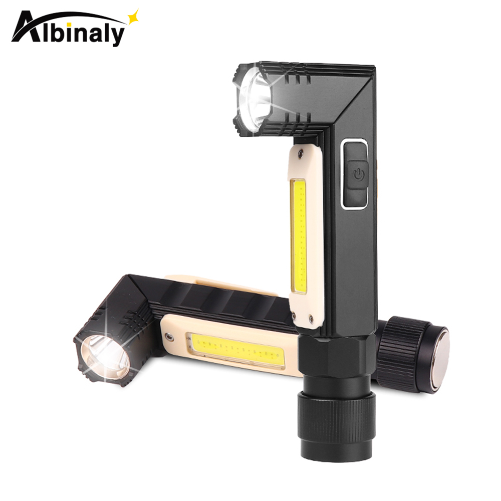 Multi Function Led Flashlight Rotating Cob Work Light Usb Rechargeable Led Torch With Strong Magnet Suitable For Multiple Scenes