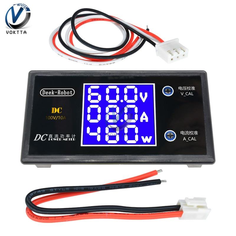 Цифровой вольтметр, амперметр постоянного тока 0-100 в, 10 А, 12 В, 24 В, 36 В, 1000 Вт с ЖК-дисплеем