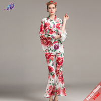 High Quality Fashion Designer Casual Suit Women S Long Sleeve Blouse Peony Floral Printed Long Flare