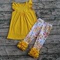 2017 детский бутик одежды флоры обледенения леггинсы наряд флаттер рукава dress бутик одежды печати