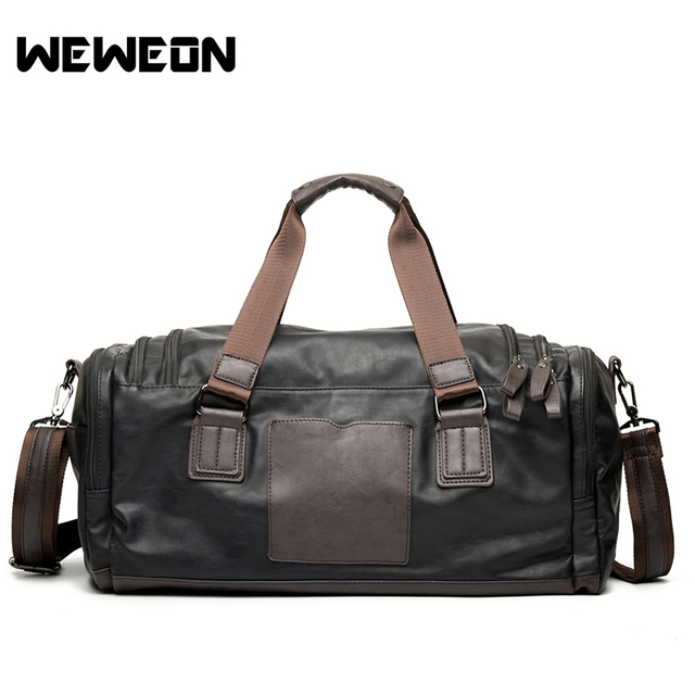 0eaea87fbefe Men s PU Leather Sports Bag Gym Bag Fitness Sport Bags Duffel Tote Travel  Shoulder Handbag