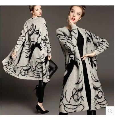 Girl Print Loose Sweater