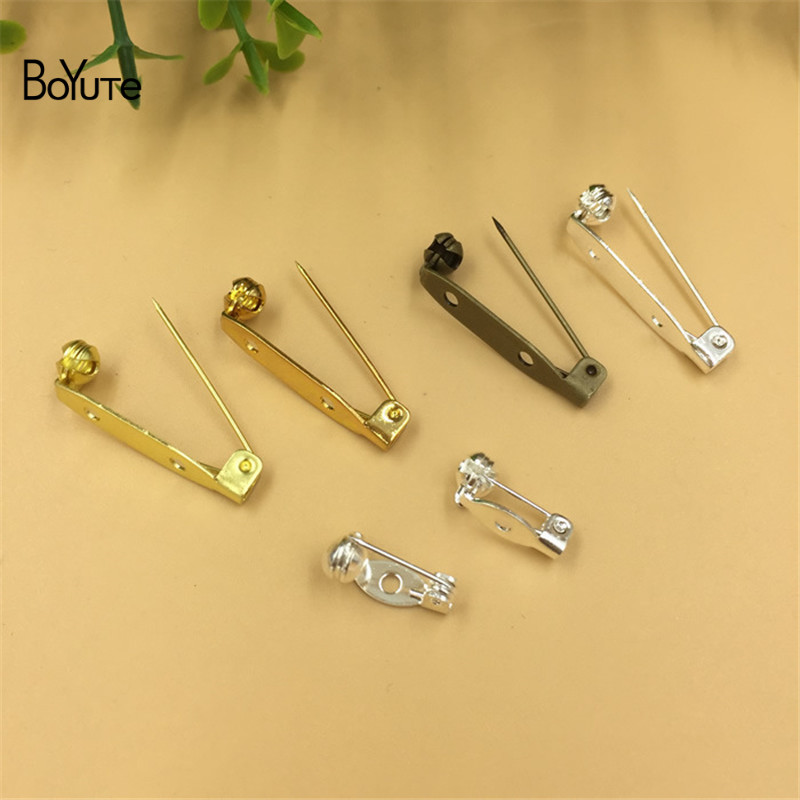 BoYuTe 100Pcs 15MM 28MM Length Pins Jewelry Accessories Diy Hand Made Safety Pin Brooch Base (4)
