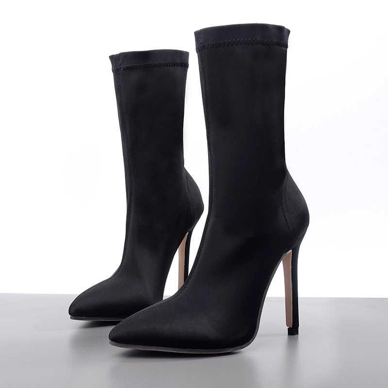 2019 Moda Kadın Çizmeler Avrupa Sivri Burun Çorap Patik Ince Yüksek Topuklu yarım çizmeler Kadın Bahar Sonbahar Ayakkabı Bootie Sapatos