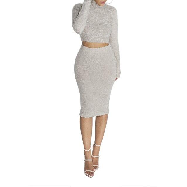 c985f3fa7 € 9.55 40% de DESCUENTO|Suéteres de fiesta de mujer vestido Casual sólido  de manga larga Crop Top con falda Bodycon mujeres conjunto de traje de ...
