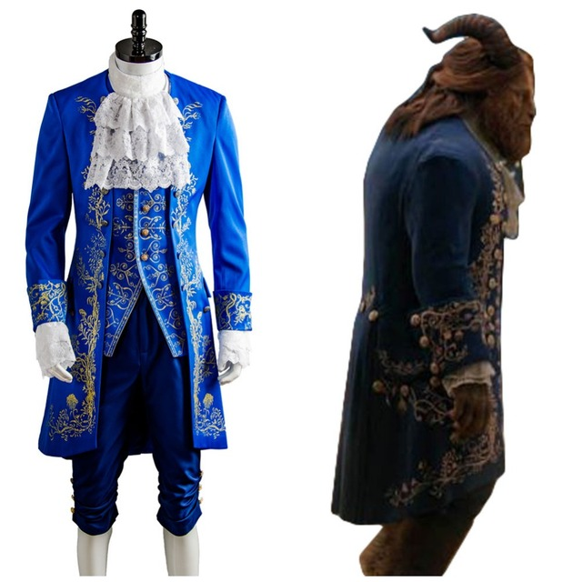 Adult Beauty And The Beast Belle Prince Adam Cosplay Costume Dan Stevens Blue Costumes