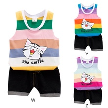 2Pcs/Set Summer Baby Boys Girls Casual Sleeveless Striped Cartoon Cat Print Vest T-shirt Tops+Shorts Costume Set