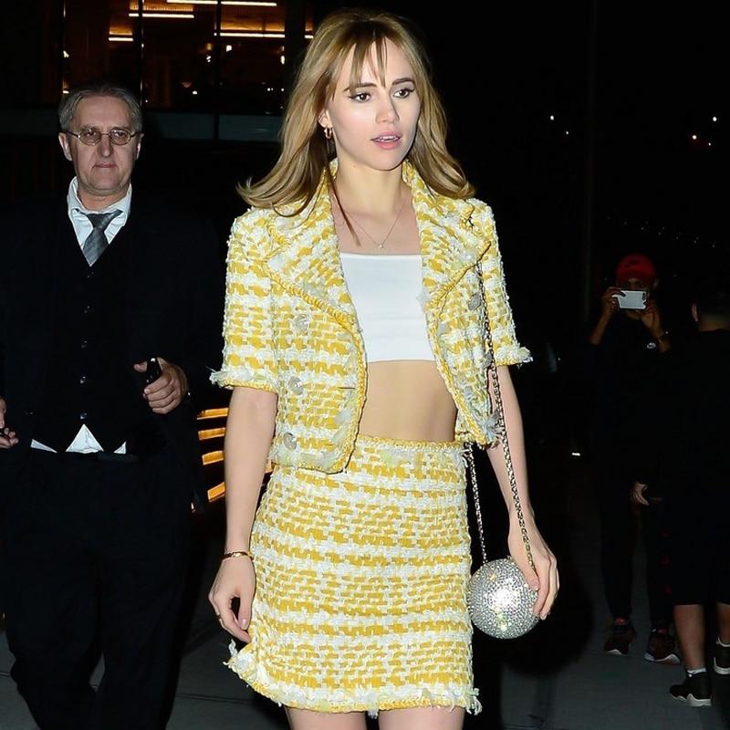 Runway Designer Ladies Wool Tweed Two Piece Set Women Elegant Yellow Notched Collar Striped Short Jacket Coat+Pencil Skirt Suit