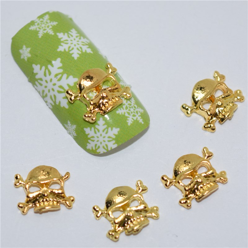 10psc New Golden Skull 3D Nail Art Decorations,Alloy Nail Charms,Nails Rhinestones  Nail Supplies #397 10psc new pearl colored flow glitter rhinestones 3d nail art decorations alloy nail charms nails rhinestones nail supplies 687