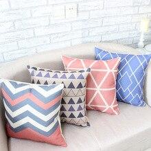 Fundas de colchón funda de Almohada Throw fundas de cojines decorativos Vintage Coral Rosa Triángulo Azul Chevron Algodón de Lino 45 cm * 45 cm