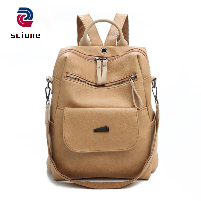 Fashion Women Backpack High Quality Youth Leather Bags for Female School Back PU Black Bagpack for Teenage Girl Shoulder Bag
