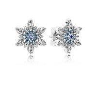 Luxury Champagne 925 Sterling Silver Jewelry Flower Stud Earrings With Zircon Stone Women Birthday Gift Bijouterie