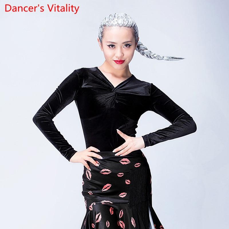 2017new Professional Unequal Sexy velvet long Sleeve Black Women Ballroom Tango Tops / Latin Lady Top for Latin Dance top