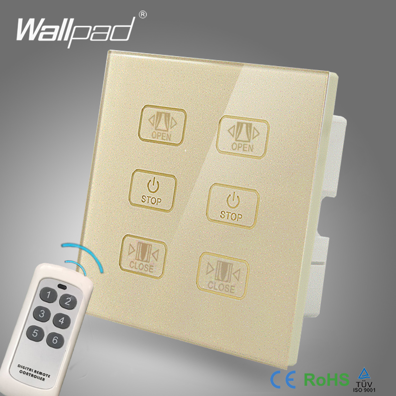 110V-250V Double Remote Curtain Switch Wallpad GOLD Glass 6 Buttons Wireless Remote Control 2 Curtain Window Blind Radio Switch цена