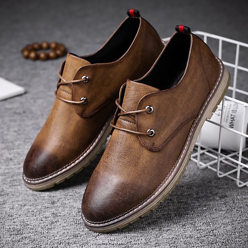 2019 Men's PU Leather Shoes Fashion Casual Leather Lace Up Black Flats New Autumn Man Split Leather Business Formal Footwear