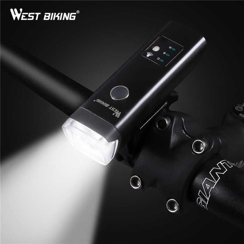 Ouest vélo vélo avant lumière Induction vélo lumière vive USB charge lampe de poche cyclisme étanche torche vélo phare