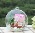 3pcs Pink Princess House miniature dollhouse glass DIY mini home glass ball hand doll house With LED lights Wholesale