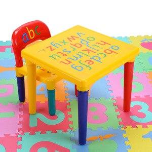Image 3 - Plastik masa ve sandalye seti için çocuk/çocuk mobilya setleri yemek çocuklar sandalye ve çalışma masası setleri karikatür hızlı kargo