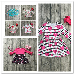 8 design in stock baby girls fall Valentine's day dress clothing children floral dress kids Fall dress V-day party dress outfits
