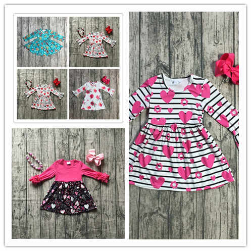 Design In Stock Baby Girls Fall Valentines Day Dress Clothing Children Floral Dress Kids Fall