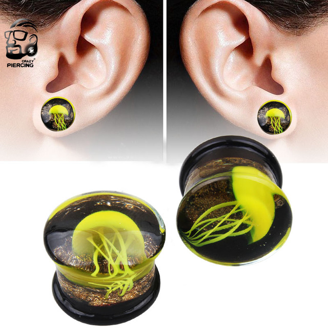 New 1 Pair Double Flared Yellow Jellyfish Gl Ear Plug Gauges Earring Piercing Expander Flesh Tunnel
