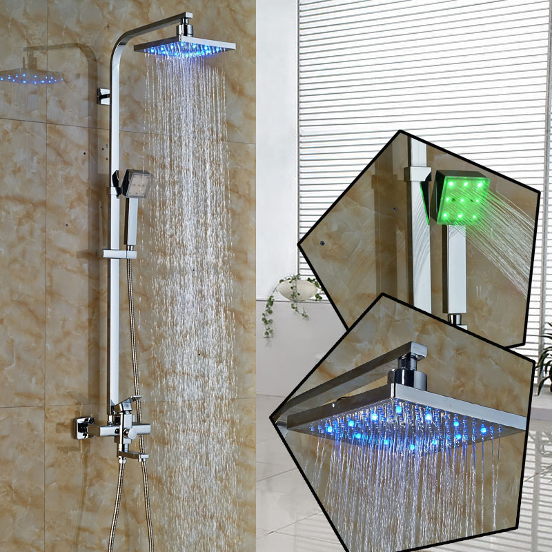 Bright Chrome Wall Mount Square Adjust Height Shower Mixer Taps Single Lever Swivel Tub Spout LED
