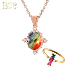 BOAKO Dainty Colorful Stone Necklace Women Rose Gold Wedding Rainbow Gem Opal Crystal Girl Party Jewelry Z5