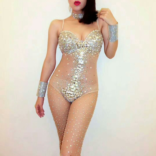 Sexy V Neck Perspective Mesh Striped Rhinestone Bodysuit Women Singer Stage Performance Costume Luxurious Gemstones Pearls Dress