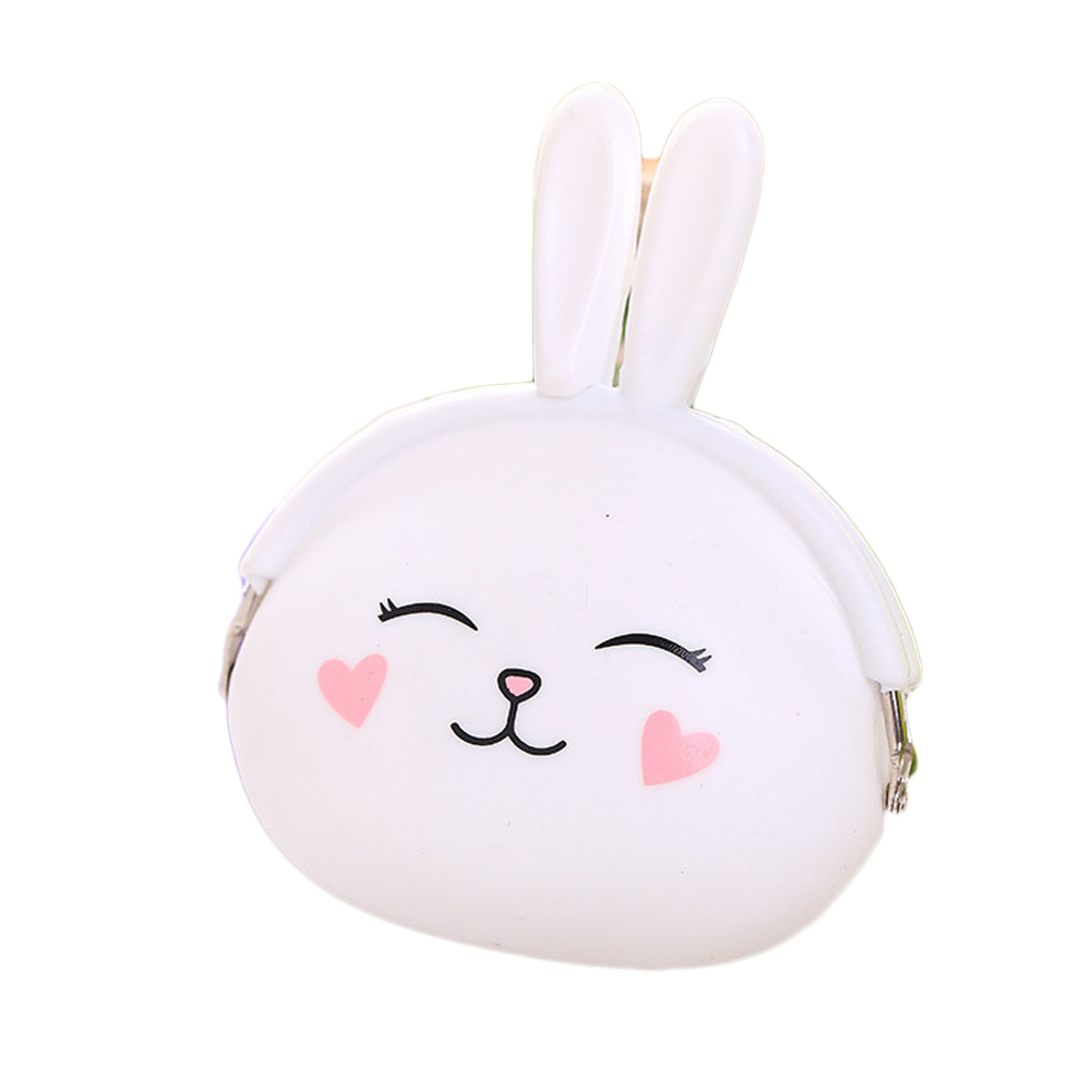 Women Girls 2017 New Coin Purse Coin Bag Small Wallet Lovely Pouch Kid Gift Soft Silicone Cartoon Rabbit