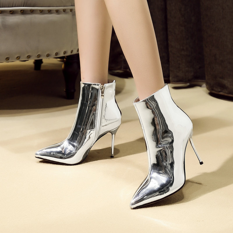 Fashion Gold Silver Top Patent Leather Women Boots Sexy Thin High Heels Ankle Boots Zipper Pointed Toe Winter Fur Warm ShoesFashion Gold Silver Top Patent Leather Women Boots Sexy Thin High Heels Ankle Boots Zipper Pointed Toe Winter Fur Warm Shoes