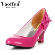 TAOFFEN women wedge shoes Bowtie sexy dress footwear fashion round toe lady spring pumps P