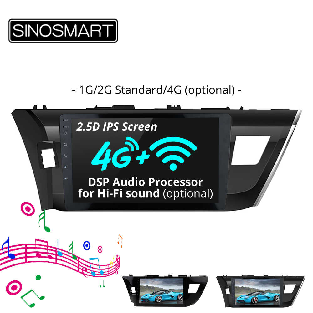 SINOSMART 2.5D IPS Android 8.1 Car Radio GPS Navigation Player for Toyota Corolla/Levin 2014 2015 2016 32EQ DSP, 4G RAM Optional