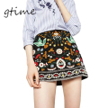GTIME Retro Embroidery Black Floral Short sSkirt Casual Autumn Winter High Waist Slim Women Wkirt Vintage 90's Mini Skirts#WGT66