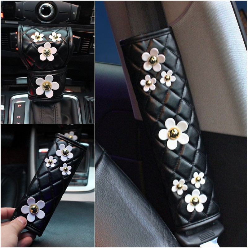 Cute Daisy Flower Leather Handbrake Cover Gear Shifter Covers Seat Belt Cover Women Girls Car Styling Interior Accessories